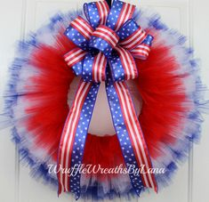 Patriotic Tulle Wreath, Patriotic Wreath, July 4th Wreath, Memorial Day Wreath, Veteran's Day Wreath by WruffleWreathsbyLana on Etsy