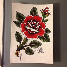 49 Ideas tattoo rose sketch old school Traditional Tattoo Flowers, Traditional Tattoo Old School, Traditional Roses, Traditional Tattoo Design, Traditional Tattoos, Men Flower Tattoo, Flower Tattoo Shoulder, Shoulder Tattoos, Rose Drawing Tattoo