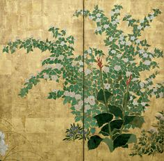 Detail. Flowers of the Four Seasons | Japanese byobu. Late1700s. This pair of 6-panel folding screens presents a journey through the four seasons of the year by representative plants and flowers for each season.