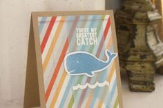Absolutely love the colored vellum over the striped paper! Greatest Catch Card by Adoreprep  at @Studio_Calico