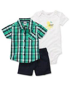 Carters Baby Set, Baby Boys Three-Piece Shirt, Bodysuit and Shorts - Kids Baby Boy (0-24 months) - Macys