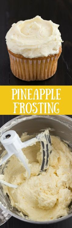 Thick and creamy Pineapple Frosting with tiny bits of pineapple speckled throughout will make all your cakes and cupcakes taste amazing! via /introvertbaker/