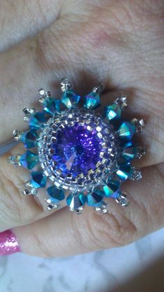Beaded Rivoli Ring with Blue Swarovski Crystals by DagnabitDesigns, $19.99