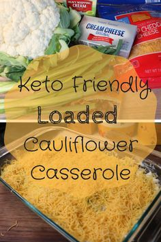Keto Friendly Bacon and Cheese Loaded Cauliflower Casserole. Healthy low carb dish reminiscent of loaded mashed potatoes. This low carb alternative is just as good, if not better than it's high carb counterpart! Loaded Cauliflower Casserole, Loaded Mashed Potatoes, Cauliflower Mashed Potatoes, Baked Cauliflower, Diet Recipes, Vegetarian Recipes, Healthy Recipes, Recipes Dinner, Pasta Recipes