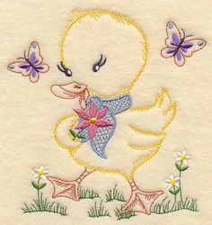 Vintage Embroidery Patterns Machine Embroidery Designs at Embroidery Library! - Duckling and Butterflies (Vintage) Learn Embroidery, Japanese Embroidery, Machine Embroidery Patterns, Crewel Embroidery, Vintage Embroidery, Embroidery Thread, Hungarian Embroidery, Custom Embroidery, Embroidery Ideas