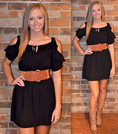 Black dress, brown cowboy boots and belt - another ZBB concert inspiration. Already have outfit like this in closet! Winning!! lol.