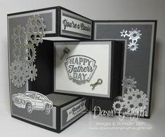 Geared Up Garage; Two for Thursday ~ Tri-Fold Shutter card videos - Dawn's Stamping Thoughts 21st Birthday Cards, Masculine Birthday Cards, Masculine Cards, Tri Fold Cards, Fancy Fold Cards, Folded Cards, Trifold Shutter Cards, Dawns Stamping Thoughts, Side Step Card