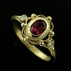 pink  tourmaline vintage inspired engagement ring.