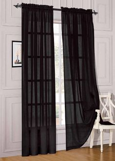 "Amazon.com - Elegant Comfort® 2 Piece Solid Sheer 60"" x 84"" Window Curtains/drape/panels/treatment, Black -"
