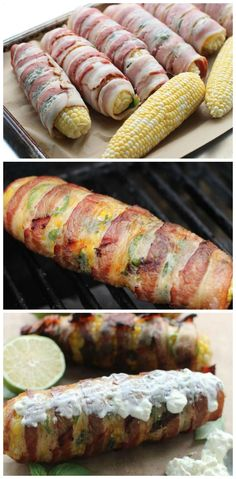 Bacon Wrapped Grilled Corn on the Cob.