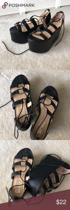 Nasty Gal Ego and Greed Platforms Black Sandals Worn once, like new Nasty Gal Shoes Platforms