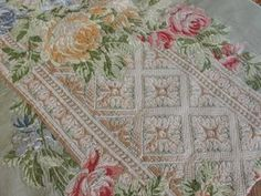 The Most Stunning Embroidered Roses on Silk Ever Antique Victorian 39 Long | eBay Vintageblessings ~Have you EVER seen anything more beautiful?~