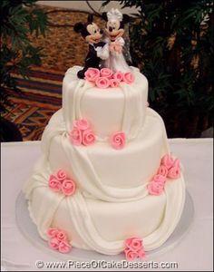 Mickey & Minnie Wedding Cake...with purple flowers instead