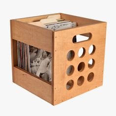 Golden Oak Deluxe Deep Groove Record Crate