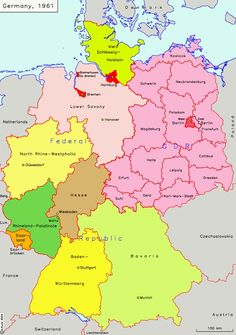 Map of Germany1961 with Länder