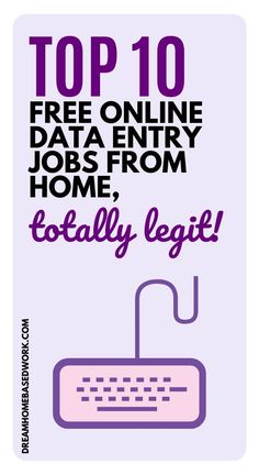 Top 10 Free Online Data Entry Jobs from Home, Totally Legit! Top 10 Free Online Data Entry Jobs from Home, Totally Legit! Work From Home Typing, Work From Home Tips, Online Data Entry Jobs, Online Jobs, Amazon Jobs, Home Based Work, Customer Service Jobs, Typing Jobs, Virtual Assistant Jobs