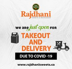 Rajdhani Sweets & Restaurant is just open for takeout and delivery due to For more detail call us today at: North Face Logo, The North Face, Vegetarian Recipes, Delivery, Sweets, Restaurant, Pure Products, Detail, Food