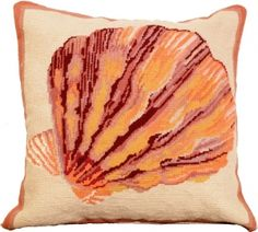 Needlepoint Lions Paw Seashell Pillow