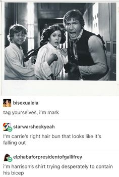 """""""Tag youself, I'm Mark."""" """"I'm Carrie's right hair bun that looks like it's falling out."""" """"I'm Harrison's shirt trying desperately to contain his bicep."""""""