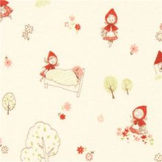 cream Little Red Riding Hood fairy tale knit fabric by Cosmo - Fairy Tale Fabric - Fabric - kawaii shop modeS4u