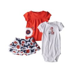 Just One You™ by Carters® Infant Girls 3-Piece Set - Orange/White