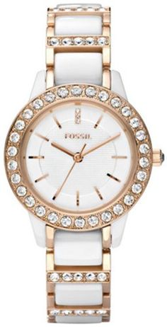 Fossil Women's CE1041 Jesse White Ceramic Rose Gold Tone Watch $129.97