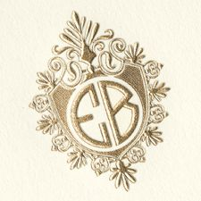 Two Letter Monogram, Art Deco, Gold Foil, Crest