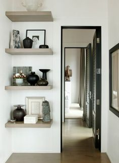 Hallway Floating Shelves Decor.