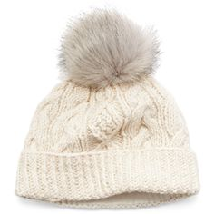 Women s Sijjl Faux-Fur Cable-Knit Beanie ( 30) ❤ liked on Polyvore  featuring accessories d4ef2c088a53