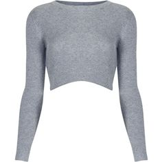 TOPSHOP Cropped Rib Fine Knit Jumper (16 CAD) ❤ liked on Polyvore featuring tops, sweaters, crop tops, shirts, crop, grey marl, long-sleeve shirt, long sleeve sweater, gray sweater and long sleeve crop sweater