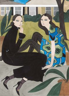 Kelly Beeman's story is a fascinating one. A few years ago, theself taught Brooklyn based artist, who was only drawingnude figures at the time, decided to peruse Style.com in search of inspiration. It was unchartered territory as Kelly didn't know much about fashion. But it was a collection from