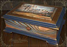 """Купить Шкатулка """"Старый город"""" - комбинированный, шкатулка, для документов, для дома и интерьера, для украшений, для дома"""