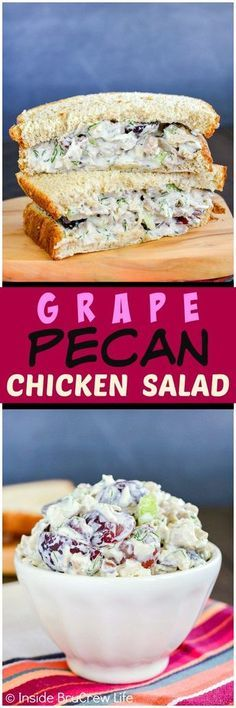 My most favorite chicken salad. SO YUMMY! Grape Pecan Chicken Salad - adding fruit and nuts to the creamy dill chicken mixture makes it a hit with everyone. Such an easy recipe for parties or picnics! Dill Chicken, Pecan Chicken Salads, Chicken Salad Recipes, Cooked Chicken, Salad Chicken, Creamy Chicken, Chicken Ideas, Recipe Chicken, Chicken Salad Recipe With Grapes And Walnuts