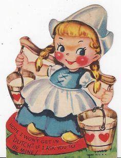 Vintage Dutch Girl Valentine