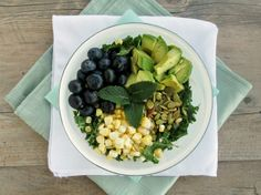 Vanilla & Spice: Corn, Avocado & Blueberry Kale Salad