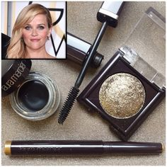"According to makeup artist, Molly Stern, the inspiration for Reese Witherspoon's eyes was a ""golden wash of colour"" on the lids, with a smokey look underneath the lash line. The goal is to define the eyes to look defined and sultry. Here are the products used: - Laura Mercier Baked Eye Colour in Black Karat. - Laura Mercier Caviar Stick Eye Colour in Gilded Gold - Laura Mercier Creme Eye Liner in Noir. - Laura Mercier Full Blown Volume Supreme Mascara. Photo from @lauramercier"