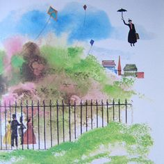 This Mary Poppins picture would be the cutest little print to have framed in a child's nursery!