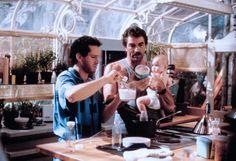 Peter Mitchell (Tom Selleck), Michael Kellam (Steve Guttenberg) and baby Mary Bennington (Lisa/Michelle Blair) ~ Three Men and a Baby (1987) ~ Movie Stills ~ #threemenandababy #80smovies #moviestills #comedies #80scomedies