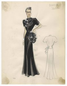 Bergdorf Goodman sketches : Hulitar 1935-1939. 1935-1939. Metropolitan Museum of Art (New York, N.Y.). Costume Institute. Bergdorf Goodman sketches, 1929-1952 Costume Institute. #evening #classy | Creating your own style.