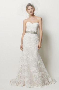 Watters - Sweetheart A-Line Gown in LaceSweetheart A-Line Gown in Lace This a-line gown features a sweetheart neckline with a natural waist in lace and beaded embroidery. It has a chapel train.   Style Number:32784902 Price:$ ($2000 - $3000)