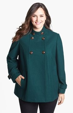 Gallery A-Line Peacoat (Plus Size) available at #Nordstrom