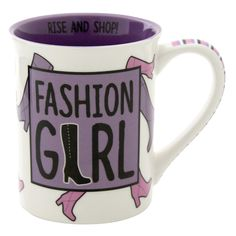 'Rise and Shop' with this Fashion Girl 16 oz mug! This pretty purple designed mug will serve all your coffee needs, before you shop till you drop! #OurNameIsMud #FashionGirl #ShopTillYouDrop #Mugs