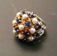 Vtg 14K SOLID GOLD 9gram Sapphire Pearl Gemstone Sz4 Cocktail Ring WOW R163