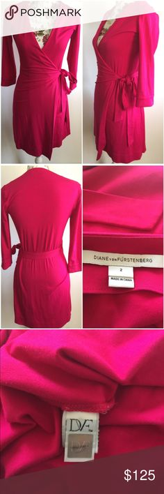 DVF Sz 2 Hot Pink True Wrap Stretch Jersey Dress Designer: DVF  Size: 2  Color: Hot Pink  Great pre-owned condition (have very small light ink spot that can probably be removed. Shown in picture #4). Overall that is the only problem, this is an amazing dress that can be worn so many ways.  Thank you for viewing! Diane von Furstenberg Dresses Midi