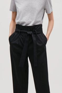 COS image 2 of Trousers with waist tie in Black
