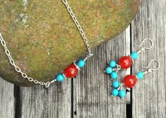Summer Colorful Red Topaz & Turquoise Beaded by BentMetalsandBeads, $30.00