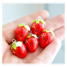 Mini Strawberry Kawaii Charms Miniature Food Jewelry by Sweet Clay Creations