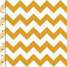Mustard Chevron on White Cotton Jersey Blend Knit Fabric
