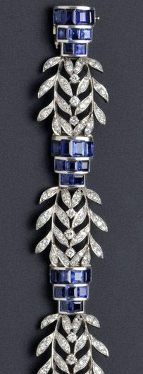 Seaman Schepps - Bracelet - Platine, Diamants et Saphirs - Années 40