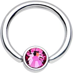 """16 Gauge 5/16"""" Pink Gem Steel BCR Captive Ring 4mm Flat Disc 
